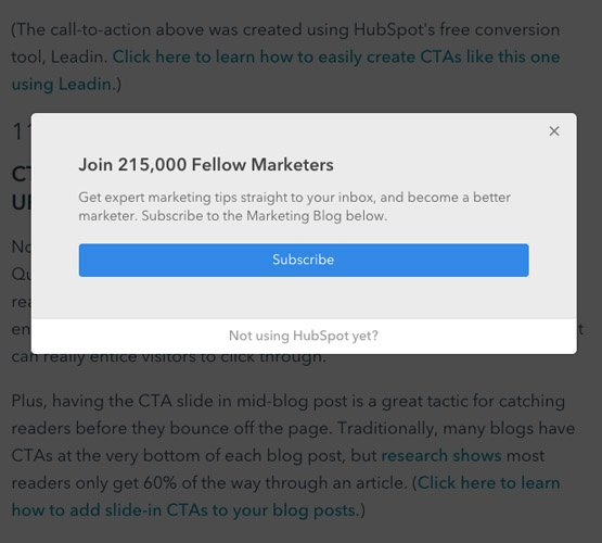 A simple CTA example from Hubspot