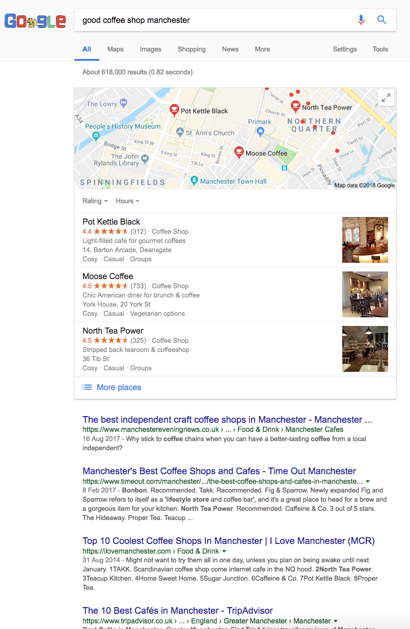 Good Coffee Shop Manchester Google Search Results