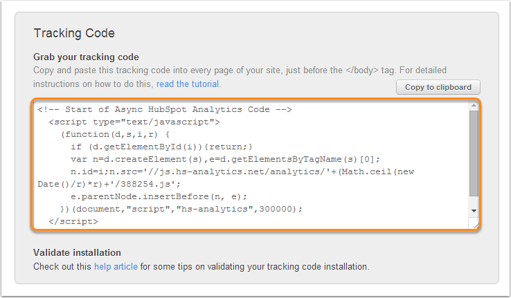 HubSpot tracking code is freely available for all HubSpot Customers